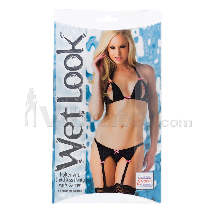 Wet Look Halter, Crotchless Panty with Garter
