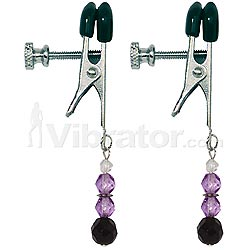 Spartacus - Purple Beaded Nipple Clamps - Wide Jaw
